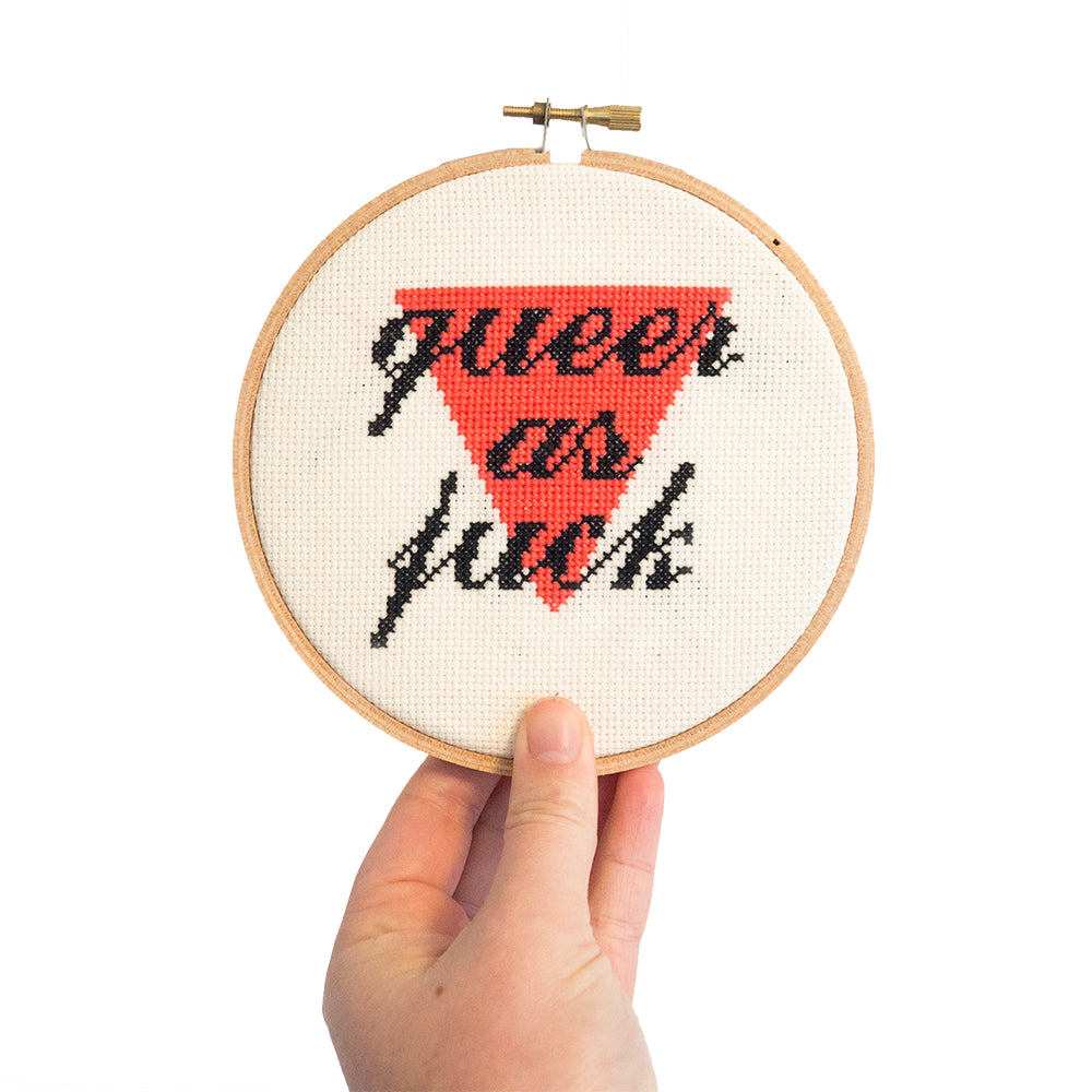 """Queer as F*ck"" Cross Stitch Kit"