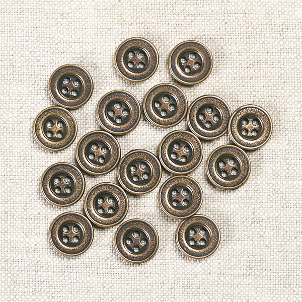 Antique Brass 4 Hole Metal Button: 12mm, 15mm