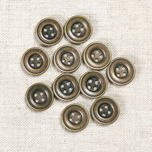 Antique Brass Metal Button 15mm