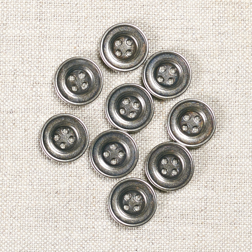 Antique Silver Metal Button 15mm