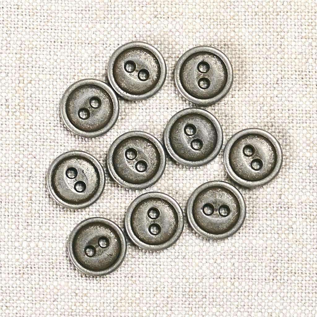 Antique Tin 2 Hole Metal Button: 11mm, 15mm