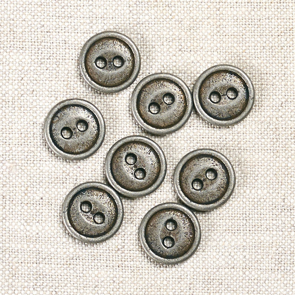 Antique Tin Metal Button 15mm