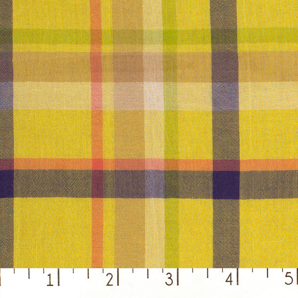 Yellow Cotton Voile Plaid