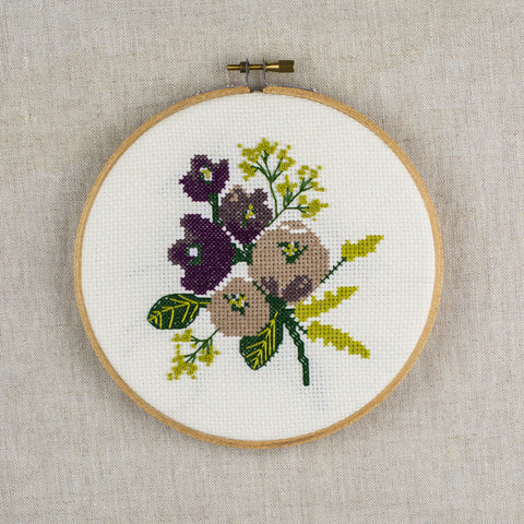"""Amethyst Floral"" Cross Stitch Kit"