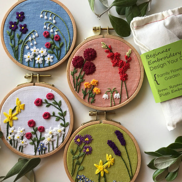 Design Your Own Family Flower Garden Embroidery Kit