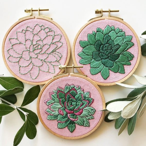 Sweet Succulent Embroidery Kit