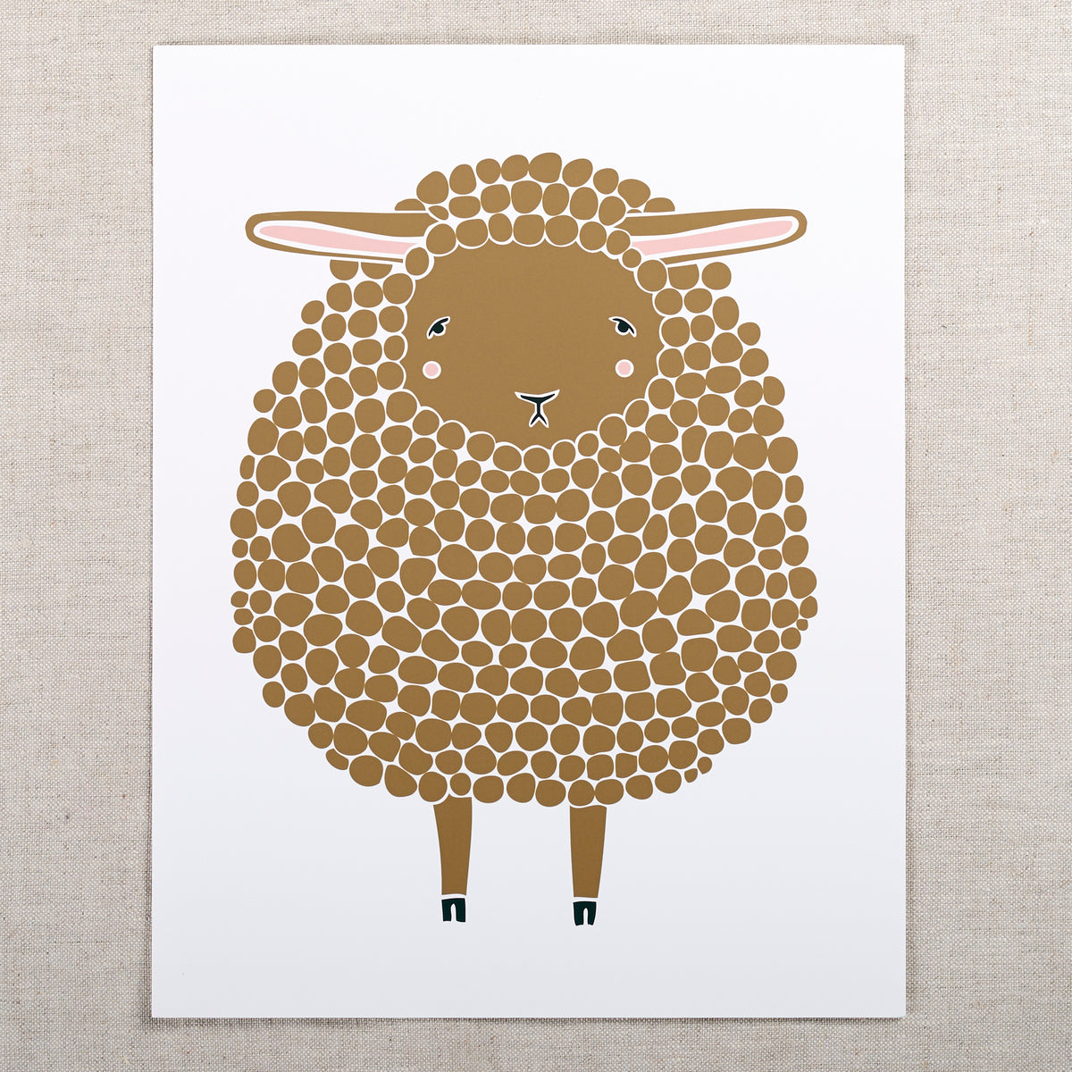 8x10 Sheep Print Brown Fancy Tiger Crafts