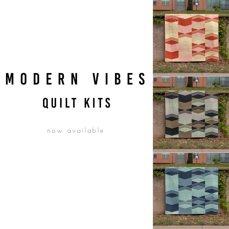 Did you see our Modern Vibes Quilt in the Fall issue of Quilt Sampler Magazine?  This fun and modern quilt uses just four solids to create a pop of color. The kit comes with all the fabric you'll need to make your own queen size quilt top