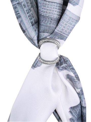 3 INFINITY Scarf Charm-Ring SILVER Alesia C. on CHICAGO COLLECTION SCARF
