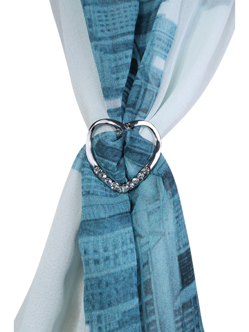 8 Crystal HEART Scarf Charm-Ring SILVER Alesia C. on CHICAGO COLLECTION SCARF