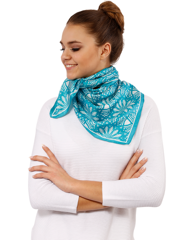 ASTER LAKE BLUE Silk Square Scarf Alesia C. 2