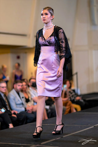 Baby Pink Silk And Black Chantilly Lace Sleeves Short Fitted Empire Waist Cocktail Dress With Back Slit by Alsia Chaika Chicago Fashion Week at Palmer House Hilton Hotel Chicago