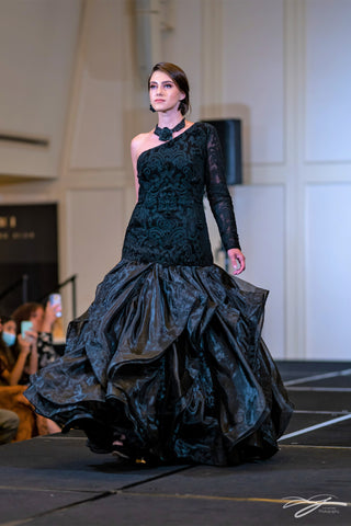 Black Mermaid Lace Bodice Organza Ruffle Skirt Gown Dress with Long one sleeve by Alesia Chaika at Chicago Fashion Week Palmer House Hilton Hotel