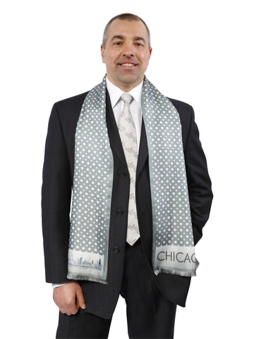 CHICAGO COLLECTION Mens Silk Scarf Alesia C. Gray White 1