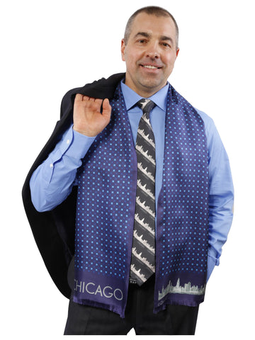 CHICAGO COLLECTION Mens Silk Scarf Alesia C. Navy Sky Blue 1