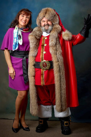 Santa Claus costume inspired by Christmas Chronicles 2 movie designed by Chicago artist and fashion designer Alesia Chaika at her atelier in Buffalo Grove, IL USA