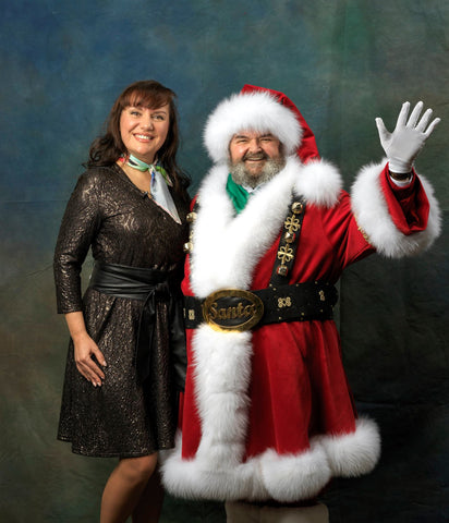 Chicago fashion designer Alesia Chaika with her client Santa in custom costume designed and crafted at Alesia's atelier in Buffalo Grove, IL USA. Photo: Peter Koutun Photography