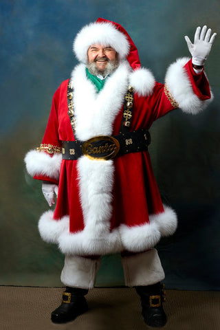 Custom Santa Clause costume designed in USA by Chicago fashion designer Alesia Chaika