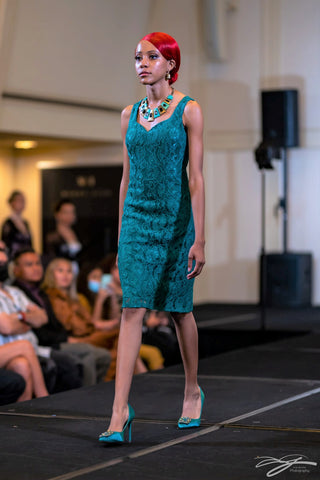 Emerals Green Alencon Lace Fitted Short Cocktail Dress With Front Slit by Alsia Chaika Chicago Fashion Week at Palmer House Hilton Hotel Chicago