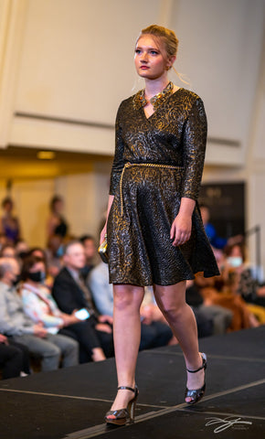 Gold Black Stretch Jacquard A Line VNeck 3/4 sleeves Cocktail Royal Blue Stretch Velvet With 3/4 Slit Sleeves Cocktail Dress by Alesia Chaika at Model Icon Chicago Fashion Week at Palmer House Hilton Hotel Chicago October 3rd, 2021 AlesiaC.com