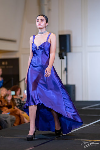 Purple High Low Silk Dress with Open Back Cocktail Dress With Front Slit by Alsia Chaika Chicago Fashion Week at Palmer House Hilton Hotel Chicago