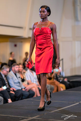 Red Stretch Silk Fitted Cocktail Dress by Alesia Chaika at Model icon Chicago Fashion Week at Palmer House Hilton Hotel Chicago