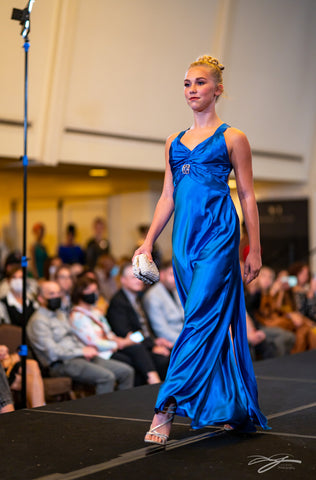Royal Blue Open Criss Cross Back Silk Dress With Front Slit by Alsia Chaika Chicago Fashion Week at Palmer House Hilton Hotel Chicago