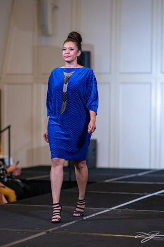 Royal Blue Stretch Velvet Long Sleeves Cocktail Dress With Front Slit by Alsia Chaika Chicago Fashion Week at Palmer House Hilton Hotel Chicago