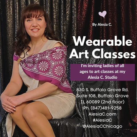 Wearable Art Classes Social Acrylic Panting Women Art Party by Alesia C. in Buffalo Grove Illinois Create Your Own Art Accessory