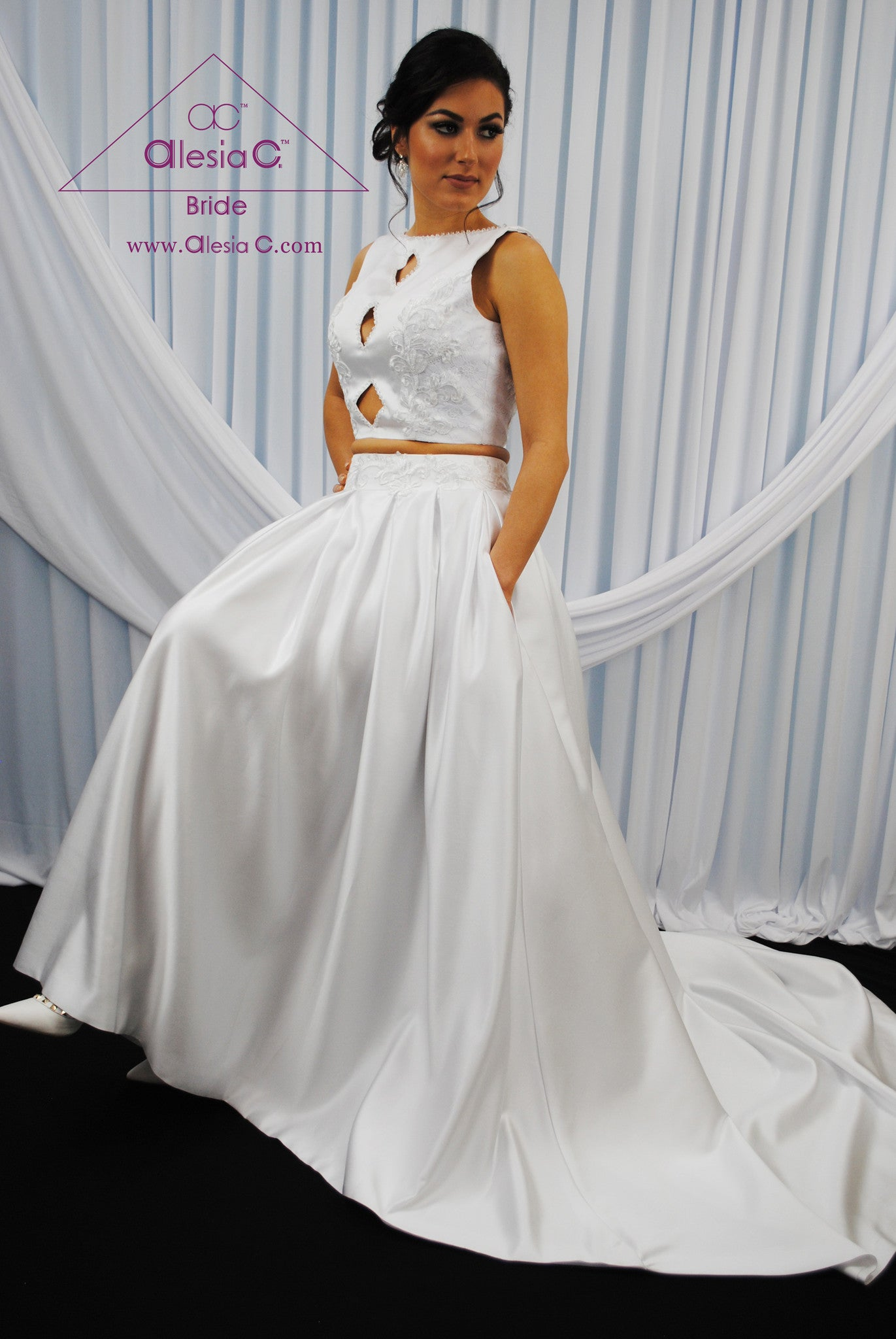 MODERNA 2 Pieces Bridal Separates Satin Couture Wedding Dress by ...