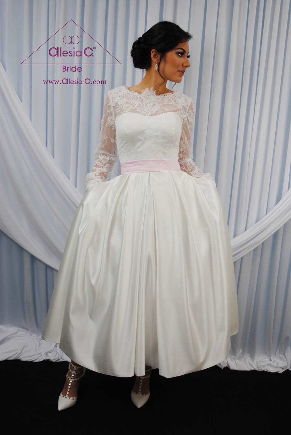 14821bccf848 VINTAGA Tea Length Lace Satin Long Sleeve Couture Retro Wedding Dress -  AlesiaC.com