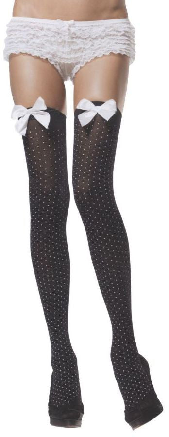 costume-accessory:-women's-thigh-high-stockings-polka-dot-black/white