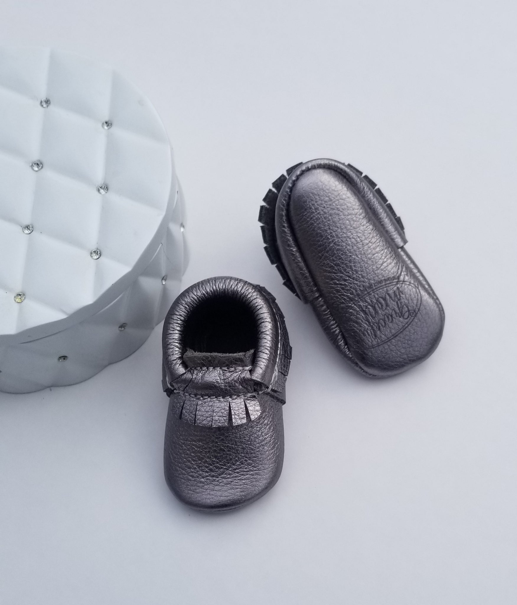 Grey Metallic Moccasins