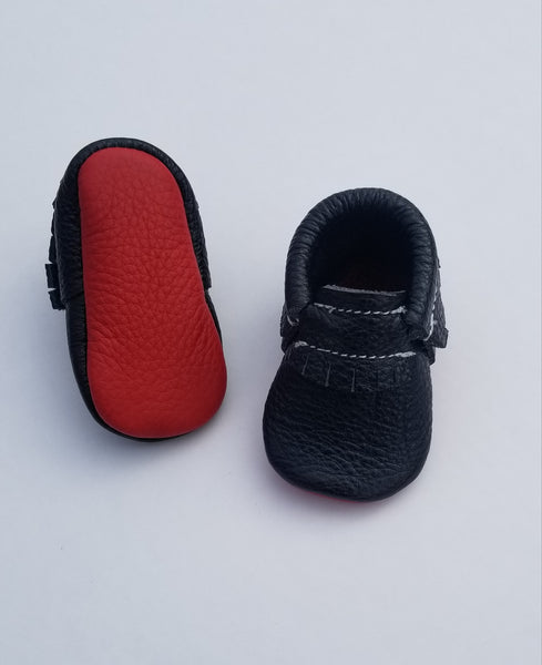 Red Bottom Black Moccasins