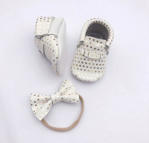 White with Gold Polka Dot Moccasins