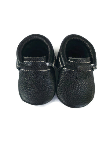 Black Metallic Moccasins