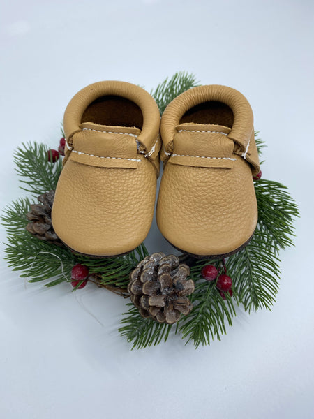 Tan Fringeless Moccasins with Brown Sole