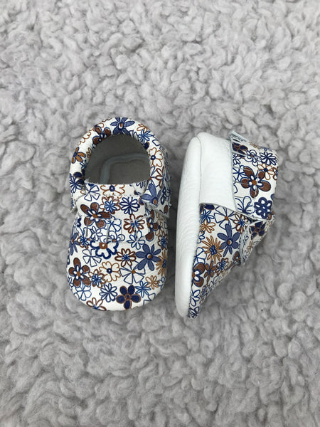White Floral Moccasins