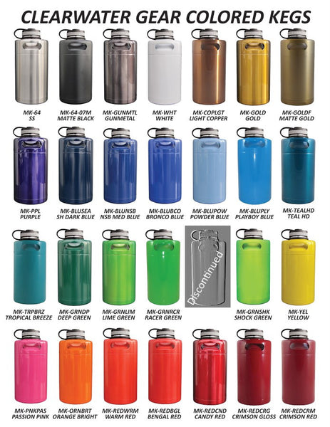Insulated Stainless Growler Powder Coated Colors