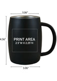14 oz. Black Double Wall Stainless Mug #96M-07