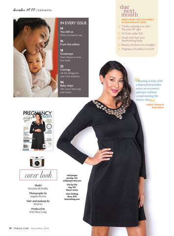 Inside Pregnancy and Newborn Magazine December 2014 with Lilac Dress