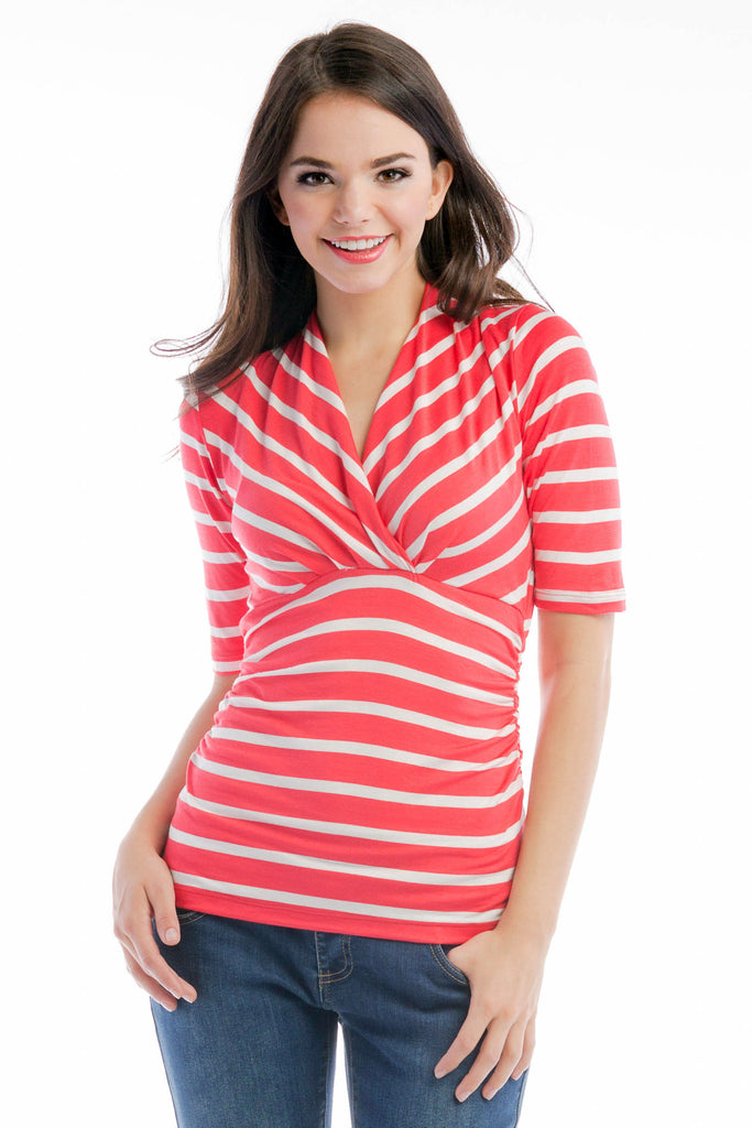 Megan Top - Coral/Ivory Stripe