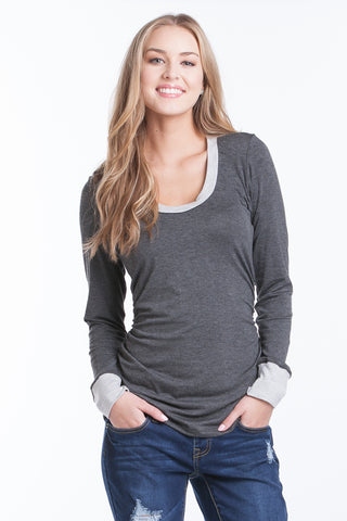 Hailey Top - Charcoal/H. Grey