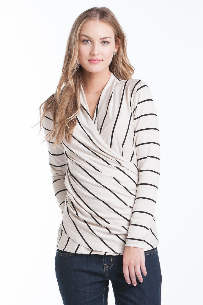 Karen Top - Oat/Black Stripe