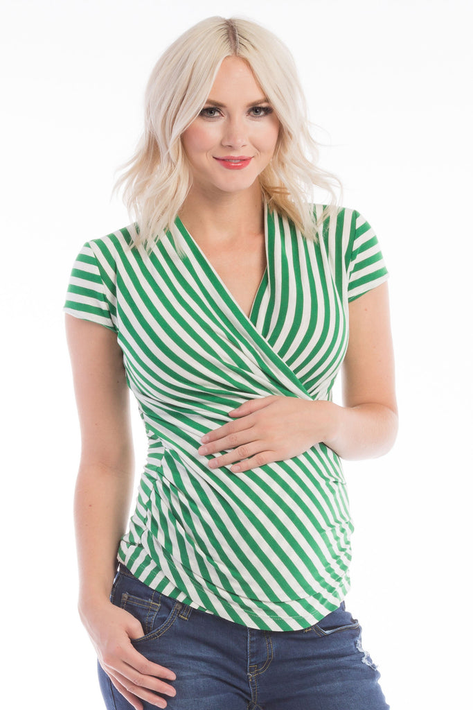 The Green/Ivory Stripe Karen top has pleating along the side makes it flattering to your midsection. Made from only the softest fabric, you'll want a Karen Top in every color! The cross-over neckline is nursing friendly making it the perfect top before, during, and after pregnancy.