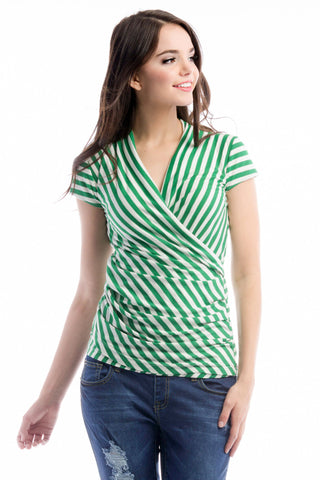 Karen Top - Green/Ivory Stripe
