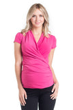 The Hot Pink Karen top has pleating along the side makes it flattering to your midsection. Made from only the softest fabric, you'll want a Karen Top in every color! The cross-over neckline is nursing friendly making it the perfect top before, during, and after pregnancy.
