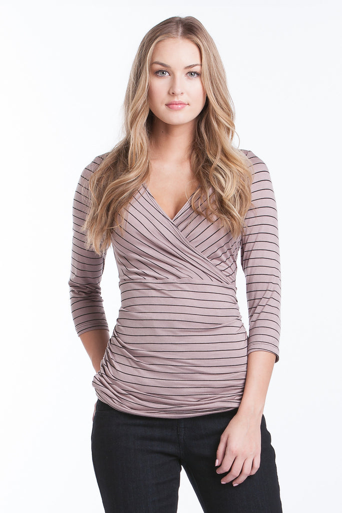 Michelle Top - Taupe/Black Stripe