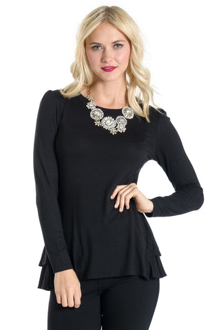 Morgan Peplum - Black Long Sleeves