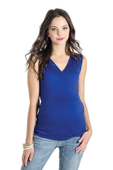 The Eva Top in Cobalt Blue is sleeveless with a crossover top that is nursing friendly.  It is great for women, pregnancy, and nursing moms.